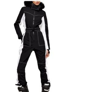 Topshop SNO Water Repellent Jumpsuit Faux Fur Trim
